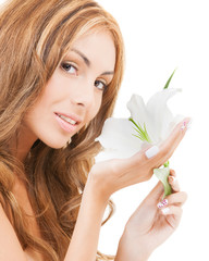 lovely woman with white lily flower
