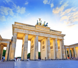sunset at Brandenburg Gate of Berlin, Germany