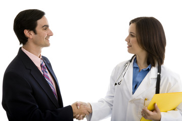 Doctor and Administrator Shaking Hands