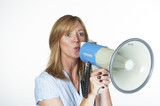 Woman using a megaphone