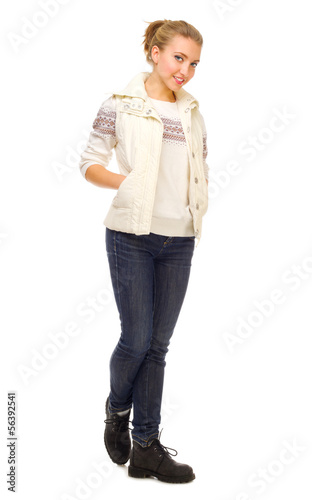 Young girl in jeans and sweater