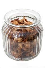 Dried mushrooms i a glass jar