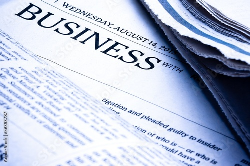 business word on newspaper