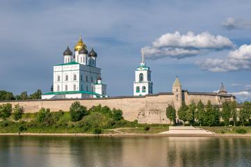 Pskov Kremlin (Krom) and the Trinity orthodox cathedral, Russia.
