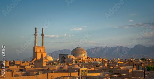 Foto op Aluminium Midden Oosten Sunset over ancient city of Yazd, Iran