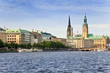 canvas print picture - Alster Lake and Downtown of Hamburg city, Germany