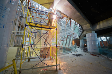 Welding works on second floor at construction