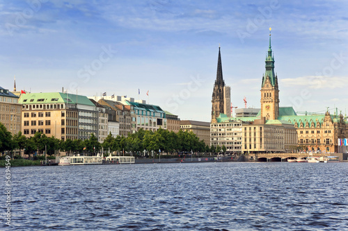 canvas print picture Alster Lake and Downtown of Hamburg city, Germany
