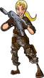 Illustration of female with a machine gun