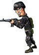 Cartoon modern soldier with a rifle