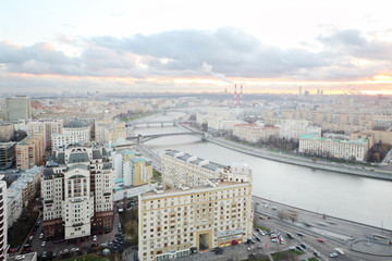 Kievsky Railway Station and Moskva river in cloudy evening
