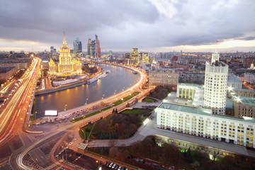 Ukraine Hotel, Moskva River and Russian government building