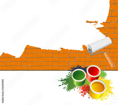 Paint roller. Vector template.