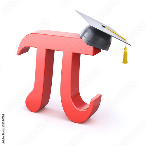 Pi symbol with graduation cap