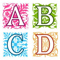 A, B, C, D, alphabet letters floral elements