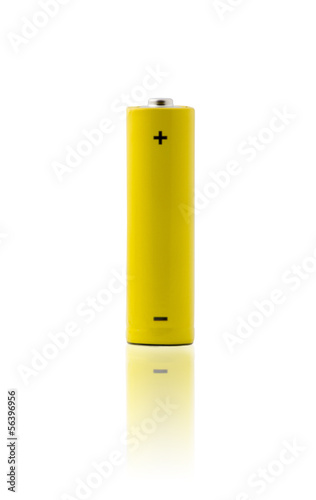 Yellow battery isolated on white