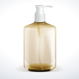Dispenser Pump Cosmetic Or Hygiene Brown Glass Bottle Of Gel
