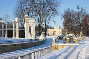 Winter in king's Lazenki park, Warsaw, Poland