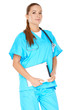 Female doctor with a tablet-pc