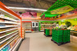 shelves with products in the supermarket - 56398175