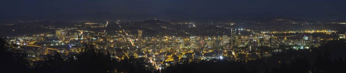 Portland Oregon Cityscape Blue Hour Panorama