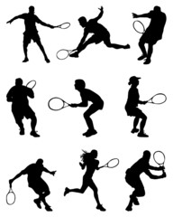 Tennis players, vector illustration