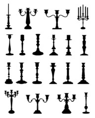 Silhouettes of candlesticks, vector collection