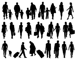 Silhouettes of walking people, vector