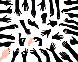 Silhouettes of hands,  vector