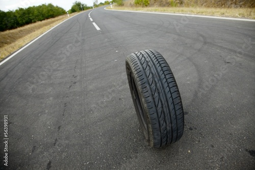Wheel on road