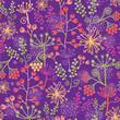 Vector colorful garden plants seamless pattern background with
