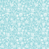 Vector blue and white lace garden plants seamless pattern