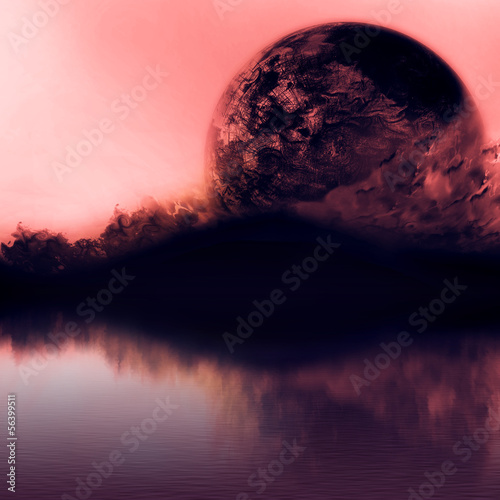 Clean sunset sky with silhouette mountains and close planet