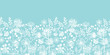 Vector blue and white lace garden plants horizontal seamless