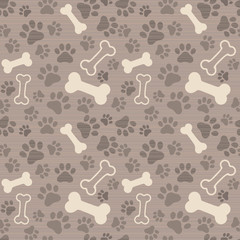 Seamless patern - pet paw print and bone