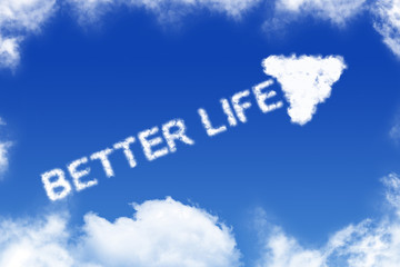 Better life - cloud text on blue background