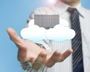 palm opening businessman with cloud and server cloud computing s