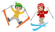 Skiing kids  jumping, Isolated