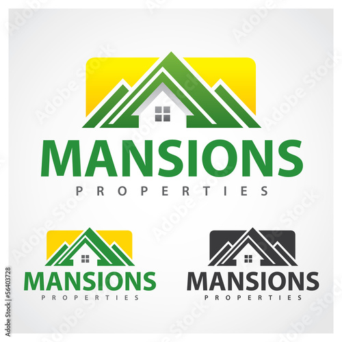 Properties Symbol Mansion properties logo design template.