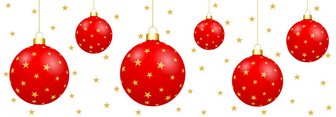 Boules de Noël rouges sur fond blanc étoilé