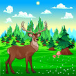 Deer in mountain landscape.