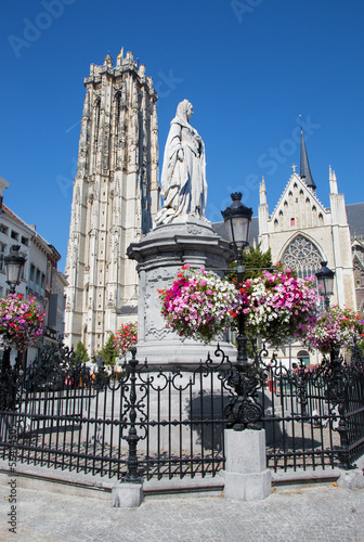 Mechelen - St. Rumbold's cathedral and statue of Margaret
