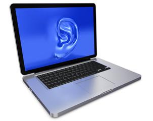 Laptop mit Ohr