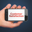 Advertising concept: Customer Satisfaction on smartphone