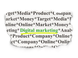 Advertising concept: Digital Marketing on Paper background