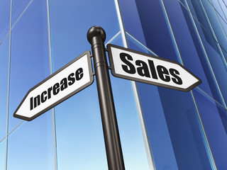 Advertising concept: Sales Increase on Building background