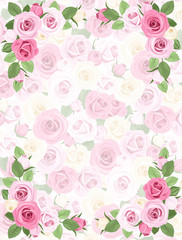 Background with roses pattern. Vector EPS-10.