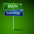 Media technology direction road sign.