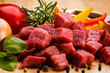 Raw beef and vegetables