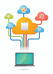 Cloud computing concept with e-commerce related icons